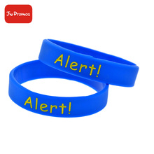 Debossed ink filled silicone wristband