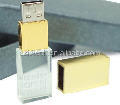 3D Laser Engraving Logo USB 2.0 Gold Crystal USB Stick Flash Drive
