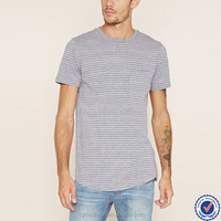 Cheap custom fashion short sleeve one pocket fitness men striped cotton t shirts
