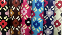 Flower print leather fabric and shiny surface of pvc synthetic leather/paten leather for making bags/purses/shoes etc