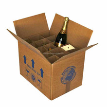GLOSSY WHITE CARDBOARD WINE SHIPPING BOX WITH DIVIDERS