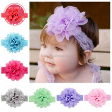 2018 Wholesale Infant Children Girls New Flower Solid Lace Headbands