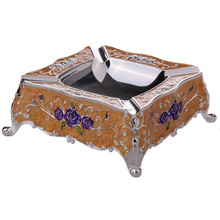 Zinc Alloy square ashtray with stainless steel bottom,customized Round Antique Metal Ashtray