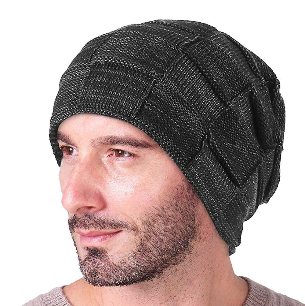 5dbb88e9f6c38 Slouchy Beanie for Men Winter Hats for Guys Cool Beanies Mens Lined Knit  Warm Thick Skully Stocking Binie Hat