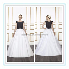 New Fashion Black and White Wedding Dress Floor Length Elegant Bridal Wedding Gowns(MNLB-1001)