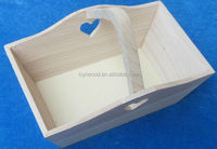 wooden basket with one handle heart shape carving