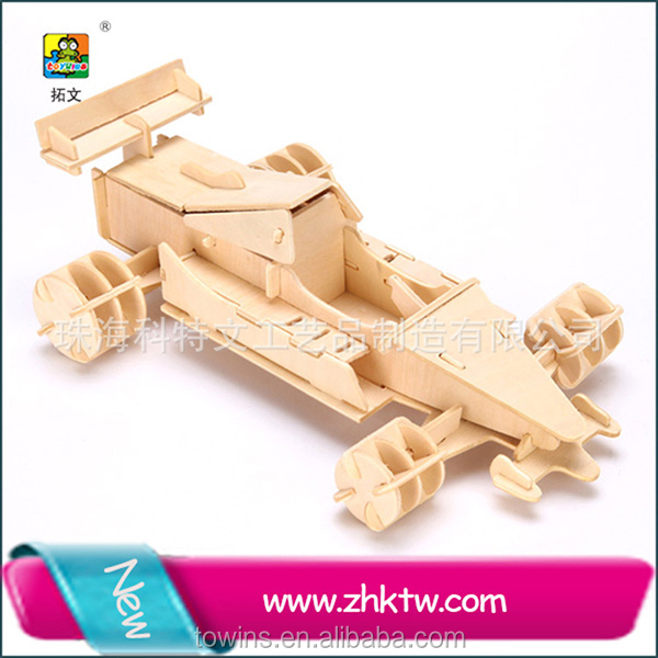 Large Stock Intelligent kid handmade diy formula Racing toy car models 3d wooden puzzle