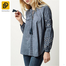 2017 new trendy style ladies women fashion long sleeve denim embroidered blouse and tops