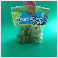 Hot sell OPP/CPP plastic ziplock bag for fresh grape packaging, plastic fresh grape bag with vent holes
