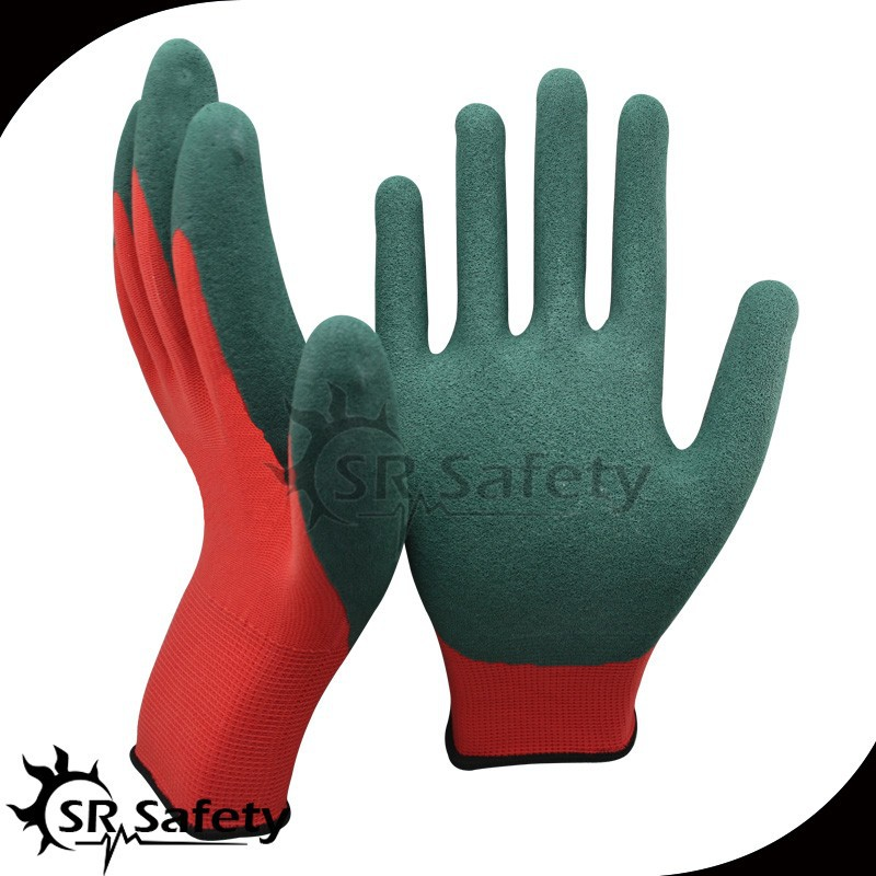 SRSAFETY red polyester coated sandy latex women work glove