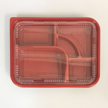 SM3-1102 Black and Red Wholesale Disposable Plastic Take Away Bento Boxes