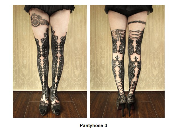 KaPin hot selling good quality black colorful cartoon picture printed fashion ladies girls cotton pantyhose for adults