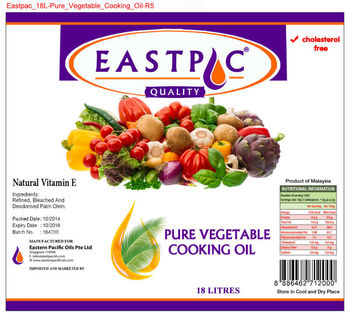 EASTPAC BRAND PURE VEGETABLE COOKING OIL in Jerry Cans
