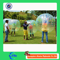 fantasitic colorful football suit inflatable body zorb balls play on grass