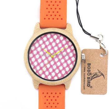 Orange Shrink Real Bamboo Silicon Band Watch As Best Gift For Girlfriends And Monther