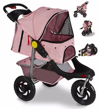 Cat / Dog Easy Walk Pet Stroller, Foldable Carrier Strolling Cart, Folding Travel Carrier Carriage