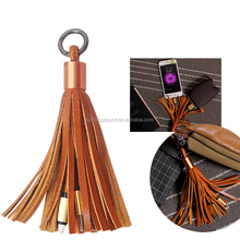 Leather Tassel Keychain Micro USB Charger Cable for android or IOS smarphones