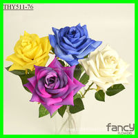 Silk material making 15*62cm big rose flower head single flower rose