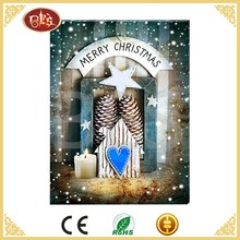 BES Xmas Canvas Christmas Home LED Wall Decoration Picture For Sale