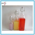 New design square glass water beverage glass bottle with clip lid/glass bottle supplier