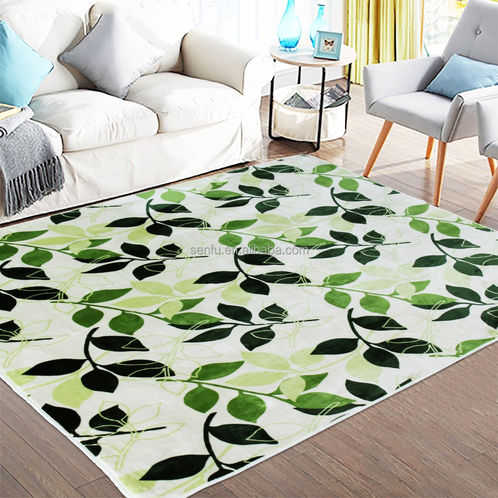 100% Microfiber Printed Flannel Carpets With Green Flower patterns