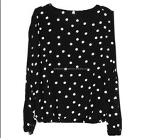 polka dots pattern lady smart casual blouse