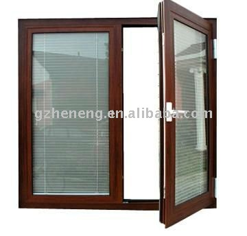 Aluminum profile high quality Aluminum casement Window with blinds--ALY-0527