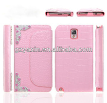 2014 Fashion Mobile Rhinestone Phone Case,Deluxe Leather Case for Samsung Galaxy Note 3 with Diamond