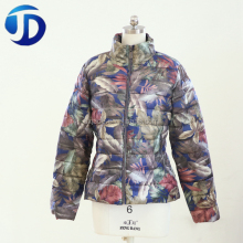Fake Down Feather Filling Material Print Women Padding Jacket