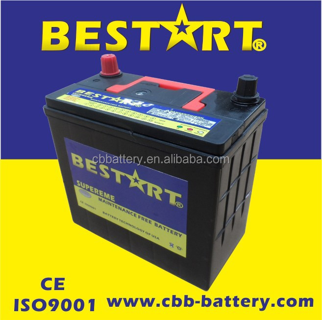 high performance 12V 45ah generator battery automobile car battery 46B24R-MF