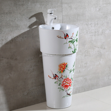 Barber shop ceramic sanitary Peony painting colored basin art hand pedestal column sink for decoration
