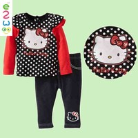 Girls Cartoon Suit Children's Carter\s Clothing Sets For 1-3 Yrs Baby Kids Cotton Long Sleeved T-Shirt Pants 2pcs