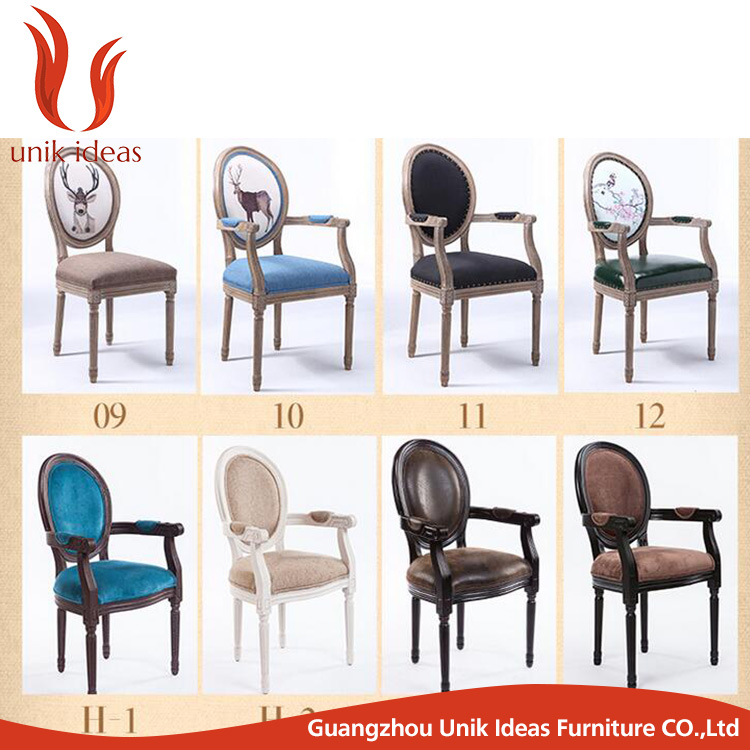 Europe <strong>antique</strong> China made fabric <strong>oak</strong> wood dining chair