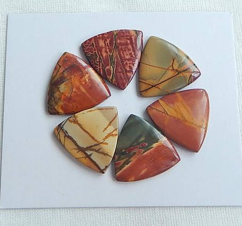 6 PCS Natural Multi-Color Picasso Jasper Cabochon set Jewelry Gift Gem Customized Gemstone Beads Fashion Earrings ,,18x3mm,7.8g