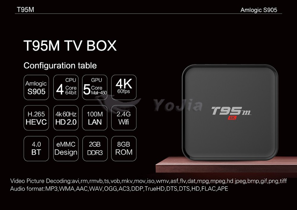 Best Choice TV BOX T95M Android 5.1 Quad Core 2G/8G 2.4GHz WIFI HD 1080P Smart Media Player
