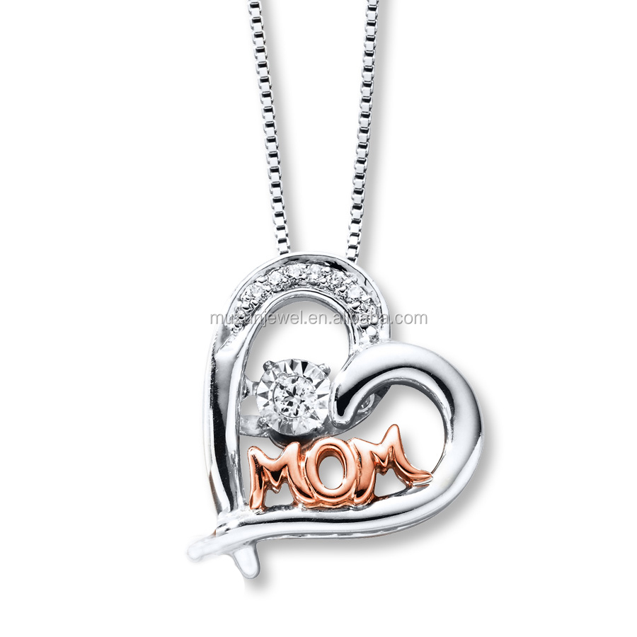 Fancy Rose Gold Heart Pendant Mother's Gift Jewelry CZ 925 Silver Crystal Necklace