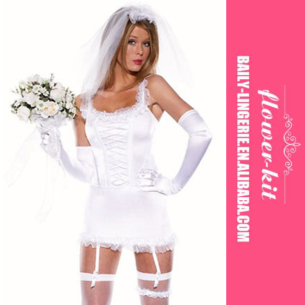 Top Quality Sexy Bride Costumes Six Pieces Women Fancy Bridal Dress