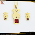 Cute Color Zircon Bear Gift Stainless Steel Gold Plated Jewelry Set