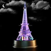 Wholesale Rotates Led Base Eiffel Tower Centerpieces Tourist Crystal Craft
