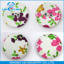 Fabric covered 2 Hole Plastic Button wrapped With Cloth