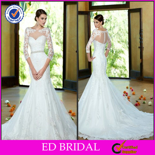 EDW519 New Design Long Sleeve Lace Crystal Illusion Bridal Dresses in Karachi