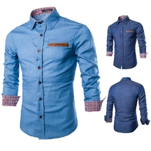 Fashion Slim Jeans Men's Shirts High Quality Casual Long Sleeve Shirt