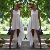 monroo New Women Summer Bohemian White Irregular Beach Dress Loose Flare Tunic Female Sleeveless Beachwear Boho Gowns Dresses