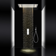 Contemporary Shower Faucet Sets System Rain Shower Handshower Included LED with Ceramic Valve Three Handles for Chrome