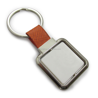 customrised original square rotatable blank leather and metal keychain
