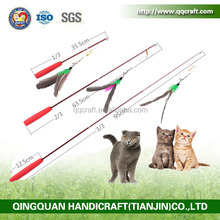 QQPet Telescoping Fishing Rod Spin Feather Cat Wand Cat Teaser Toys
