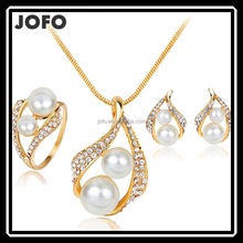Gold Plated Elegant Fashion Inlaid Crystal Jewelry Sets Imitation Pearl Earrings Necklaces Ring Set For Women Wedding