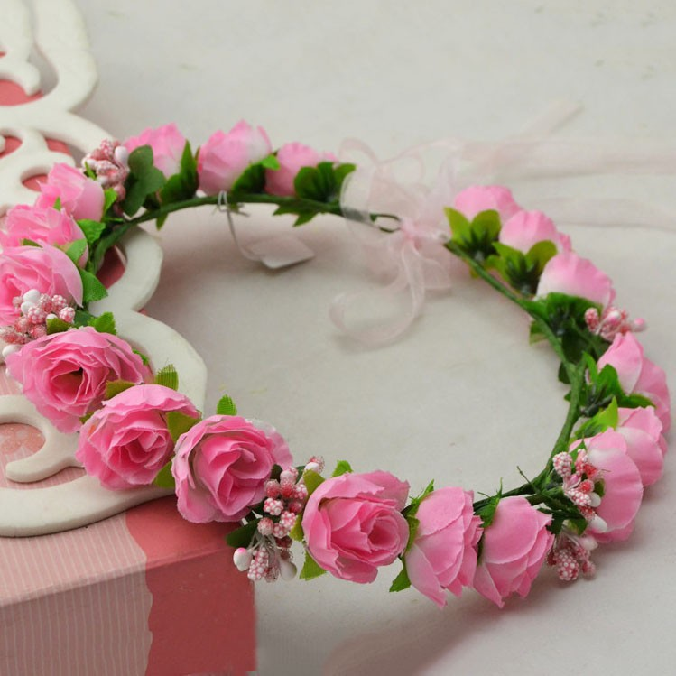 Cheapest Free shipping Handmade Pink Rose Flower Bridal Decorative Garland