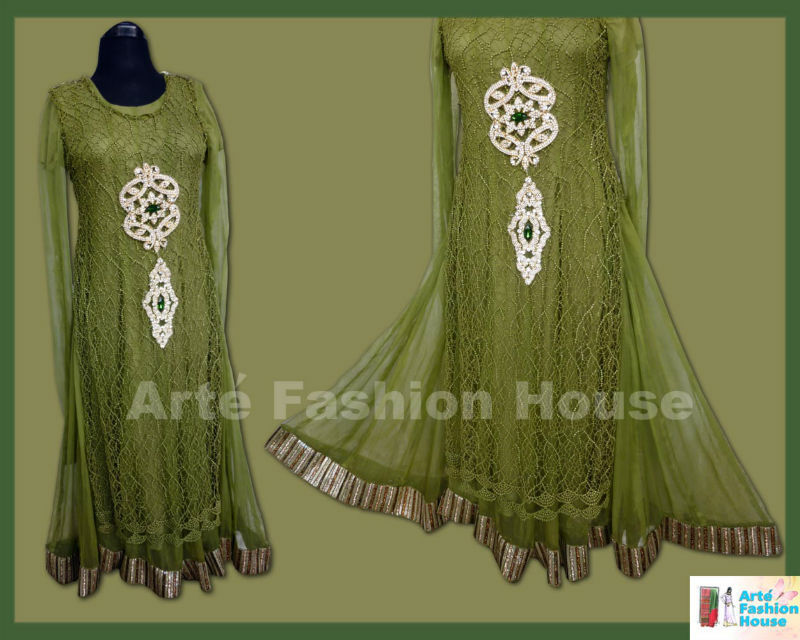 2013 latest indian pakistani party wear long flaired dress