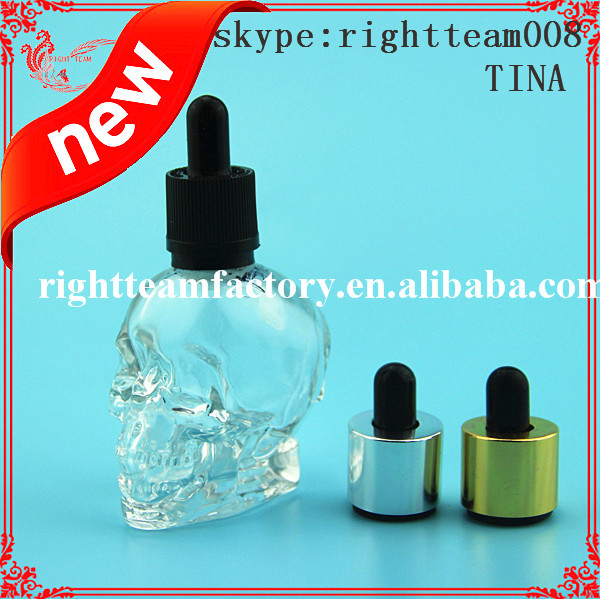 clear skull bottle skull Shaped Liquor bottle/Unique design crystal skull head glass bottles for e liquid